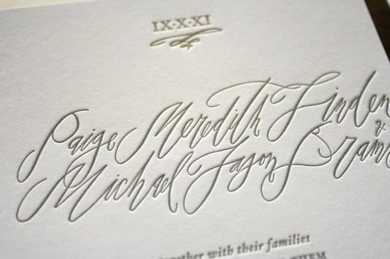 Calligraphy Letterpress Wedding Invitations Parrott Design Studio Betsy Dunlap3 550x366 Paige + Michaels Elegant Calligraphy Wedding Invitations