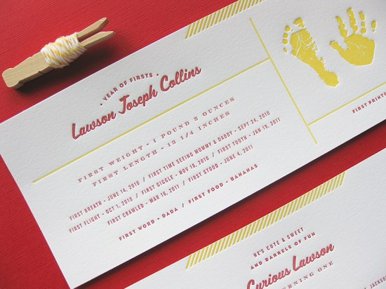 Curious George First Birthday Invitations Duet Letterpress3 550x412 Curious George Inspired Birthday Party Invitations for Lawson