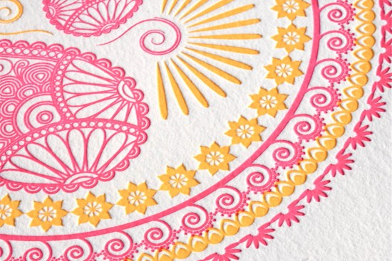 Indian Design Letterpress Wedding Invitations3 550x367 Indian Pattern Letterpress Wedding Invitations