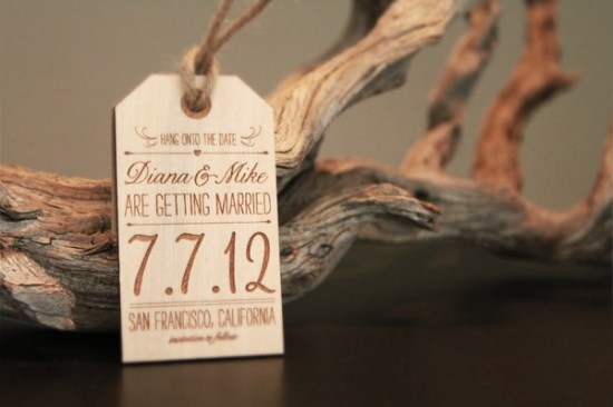 Wood Engraved Wedding Save the Date JolieJolie2 550x366 Diana + Mikes Wood Engraved Save the Dates