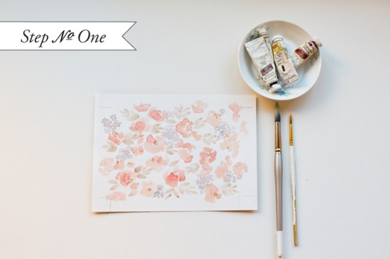 step1a1 550x366 DIY Tutorial: Watercolor Floral Pattern Wedding Invitations