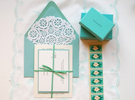 tiffany blue final 550x410 DIY Tutorial: Little Blue Box Inspired Rubber Stamp Wedding Invitations