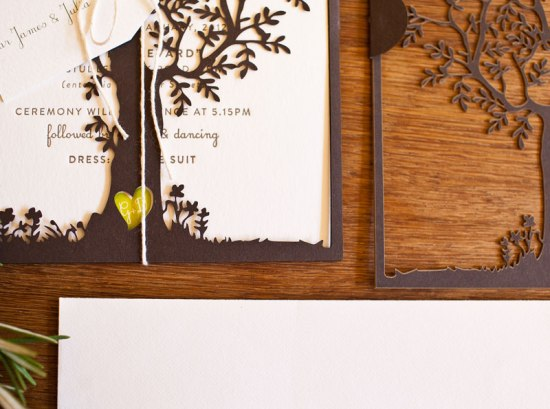 Laser Cut Tree Wedding Invitations3 550x409 Georgie + Daves Nature Inspired Wedding Invitations