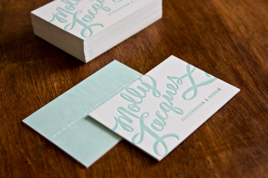 Molly Jacques Calligraphy Letterpress Business Cards 550x366 Molly Jacques Calligraphy Business Cards + Artwork