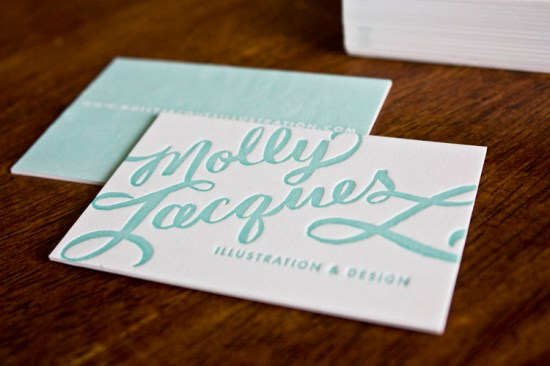 Molly Jacques Calligraphy Letterpress Business Cards2 550x366 Molly Jacques Calligraphy Business Cards + Artwork