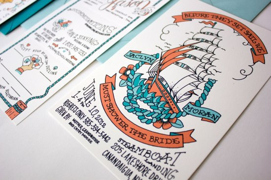 Nautical Atlantic City Wedding Invitations7 550x366 Jaclyn + Jasons Illustrated Nautical Wedding Invitations