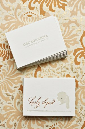 Oscar Emma Gold Foil Gray Letterpress Business Cards 300x451 Business Card Ideas and Inspiration #12
