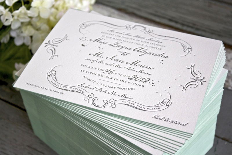 Zayra + Ivan\u0027s Vintage-Inspired Gray + Celadon Wedding Invitations