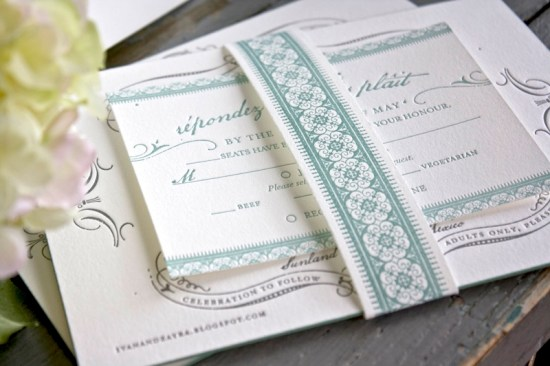 Vintage Inspired Blue Gray Letterpress Wedding Invitations 550x366 Zayra + Ivans Vintage Inspired Gray + Celadon Wedding Invitations