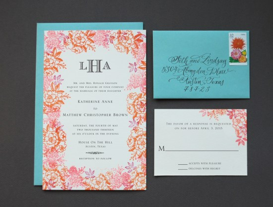 color final 2 550x417 DIY Tutorial: Rubber Stamp Floral Wedding Invitations
