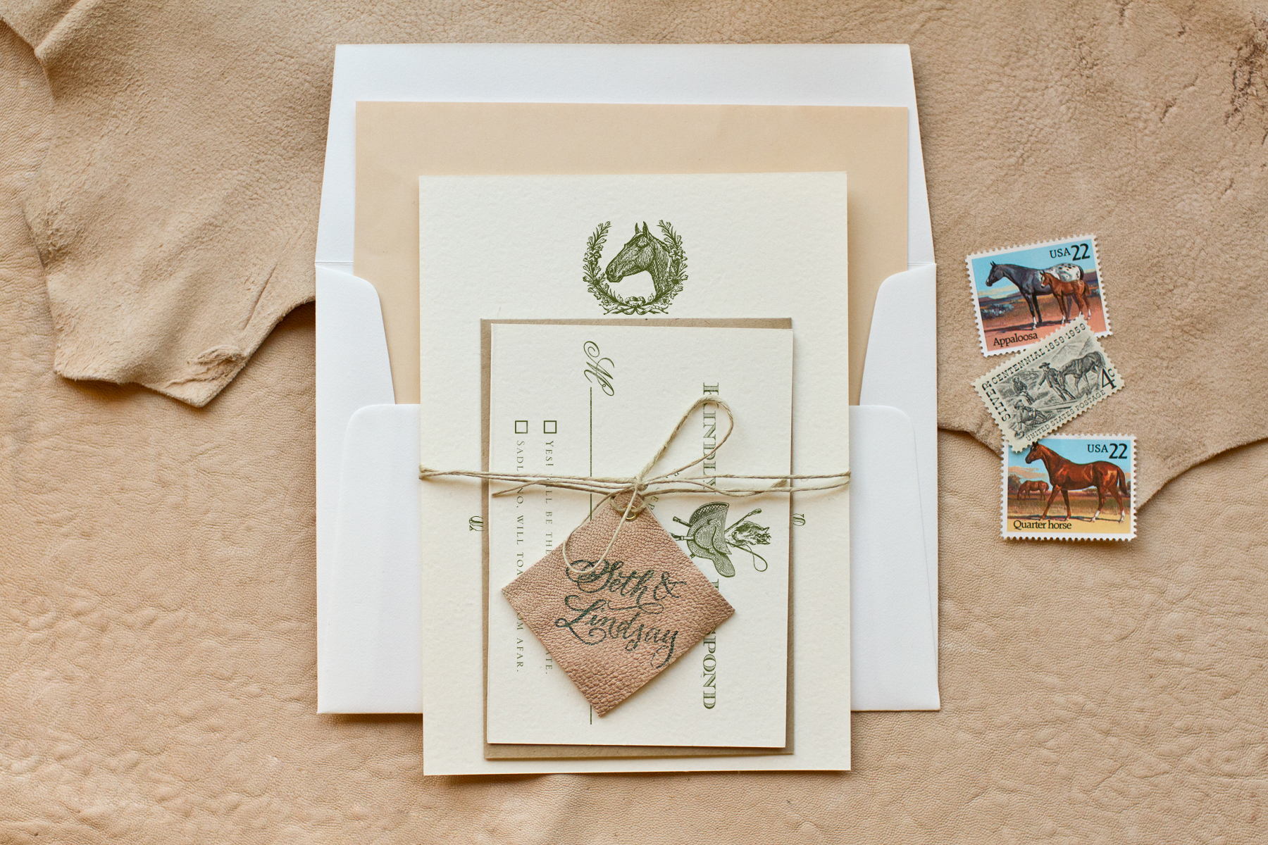 diy stamped equestrian invitations with monogrammed leather tags making wedding invitations