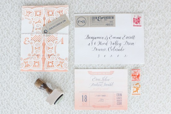 Ombre Watercolor Letterpress Wedding Invitations7 550x366 Erin + Andrews Ombre Watercolor and Letterpress Wedding Invitations