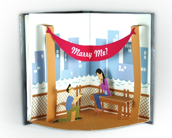 Libros Pop Up A Paper Marriage Proposal Pop-up Book