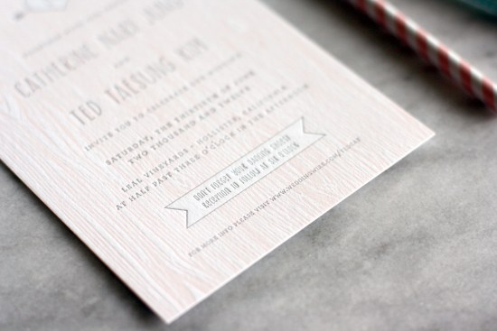 Pink Faux Bois Letterpress Wedding Invitations Truly Smitten Studio2 550x367 Catherine + Teds Modern and Rustic Faux Bois Wedding Invitations