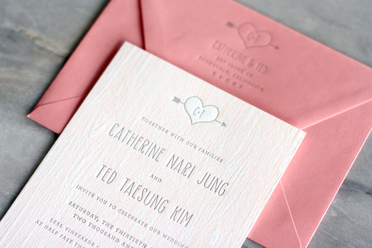 catherine teds modern and rustic faux bois wedding invitations pink wedding invitations I incorporated