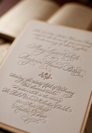 Rustic Elegant Letterpress Wedding Invitations Atheneum Creative2 300x432 Mary + Bens Elegant and Rustic Letterpress Wedding Invitations