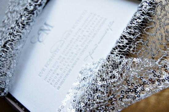 Silver Metallic Letterpress Wedding Invitations Wiley Valentine3 550x366 Eve + Mikes Metallic Silver New Years Eve Wedding Invitations