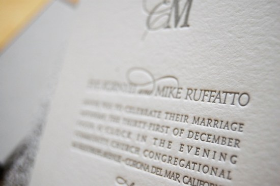 Silver Metallic Letterpress Wedding Invitations Wiley Valentine5 550x366 Eve + Mikes Metallic Silver New Years Eve Wedding Invitations