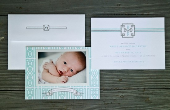 Southern Classic Monogram Letterpress Birth Announcements 550x358 Classic Monogram Birth Announcements for Baby Rhett