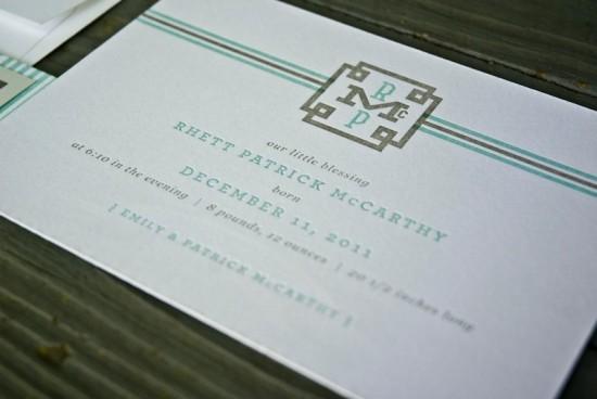 Southern Classic Monogram Letterpress Birth Announcements4 550x368 Classic Monogram Birth Announcements for Baby Rhett