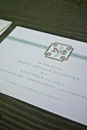 Southern Classic Monogram Letterpress Birth Announcements5 300x447 Classic Monogram Birth Announcements for Baby Rhett