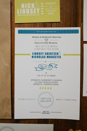 Creative Wedding Rehearsal Dinner Invitations10 300x450 Nick + Lindseys Creative Wedding and Rehearsal Dinner Invitations