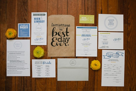 Creative Wedding Rehearsal Dinner Invitations2 550x366 Nick + Lindseys Creative Wedding and Rehearsal Dinner Invitations