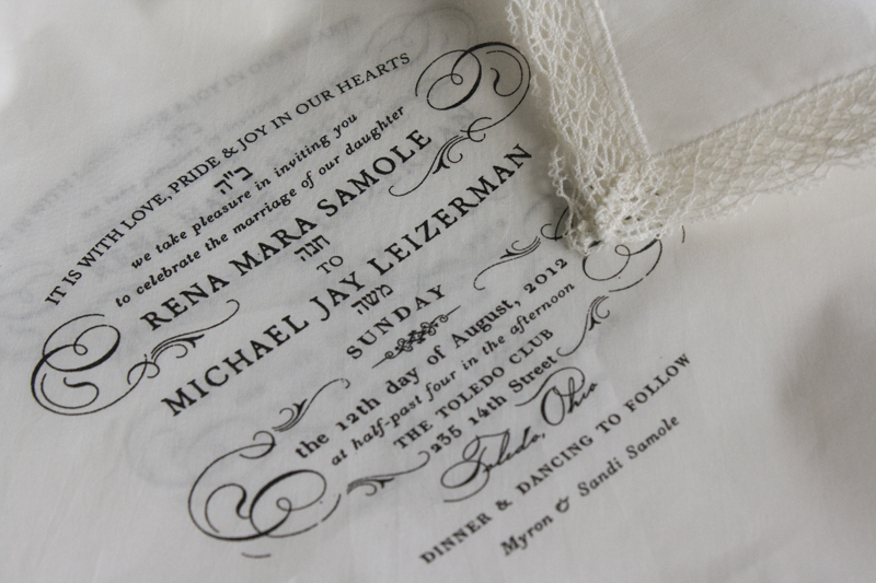 Rena + Michaelu0027s Semi-Formal Handkerchief Wedding Invitations - vintage invitation template