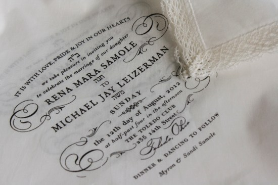 Handkerchief Kraft Paper Wedding Invitations Lucky Luxe Couture Correspondence2 550x366 Rena + Michaels Semi Formal Handkerchief Wedding Invitations