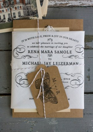 Handkerchief Kraft Paper Wedding Invitations Lucky Luxe Couture Correspondence4 300x437 Rena + Michaels Semi Formal Handkerchief Wedding Invitations
