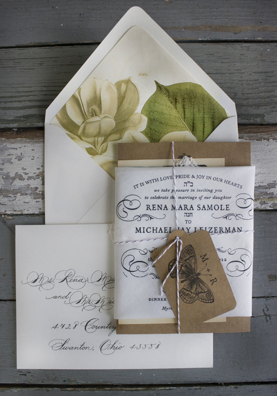 Rena + Michaelu0027s Semi-Formal Handkerchief Wedding Invitations - formal invitation