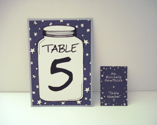 Blue Star Wedding Escort Cards and Table Number Olio Studio 550x436 Wedding Stationery Inspiration: Fourth of July