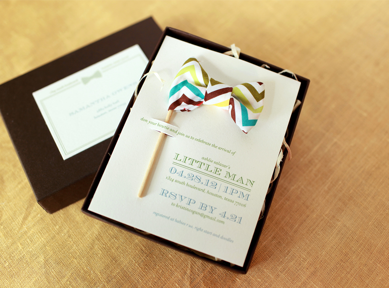 bow tie inspired baby shower invitations