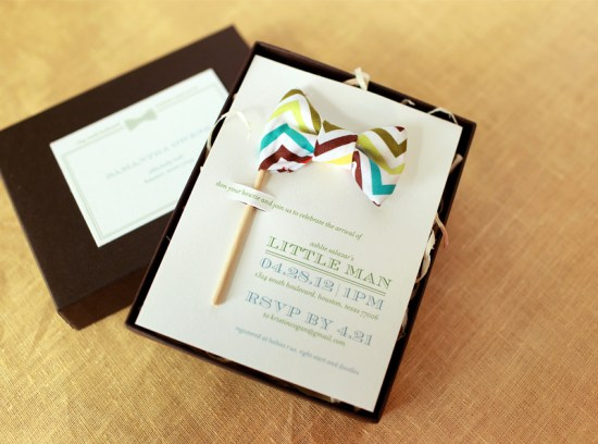 Little Man Baby Shower Invitations Atheneum Creative 550x408 Little Man Bow Tie Inspired Baby Shower Invitations