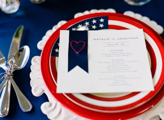 Patriotic Red White Blue Wedding Menu A Milestone Paper Co Laura Ivanova Photography 550x403 Wedding Stationery Inspiration: Fourth of July
