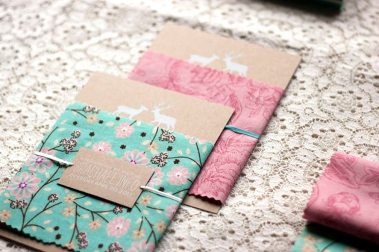Rustic Woodland Fabric Kraft Paper Wedding Invitations4 550x366 Rachael + Brians Woodland and Fabric Wedding Invitations