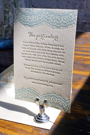 Vintage Country Lace Wedding Invitations Lucky Luxe Couture Correspondence3 300x450 Amy + Dougs Western Romance Lace Inspired Wedding Invitations