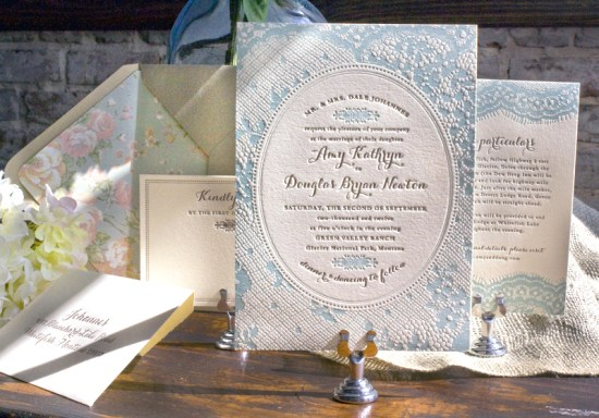 Vintage Country Lace Wedding Invitations Lucky Luxe Couture Correspondence4 550x384 Amy + Dougs Western Romance Lace Inspired Wedding Invitations