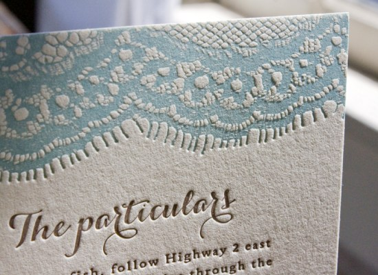 Vintage Country Lace Wedding Invitations Lucky Luxe Couture Correspondence7 550x401 Amy + Dougs Western Romance Lace Inspired Wedding Invitations