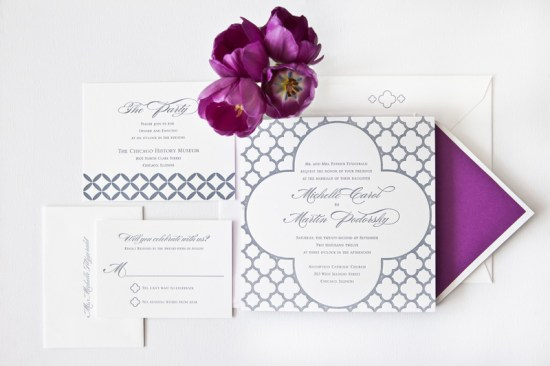 Classic Purple Wedding Invitations Edge Painting Courtney Callahan Paper2 550x366 Michelle + Martins Classic Purple Edge Painted Wedding Invitations