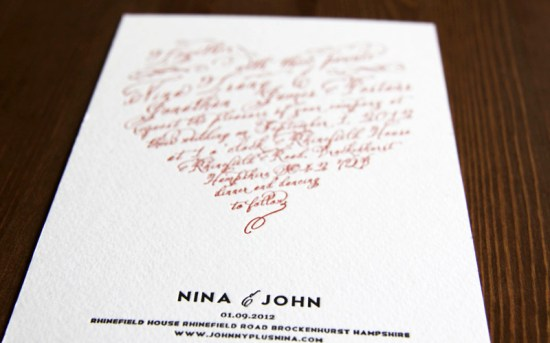 DIY Calligraphy Font Letterpress Wedding Invitations 550x343 Nina + Johns DIY Letterpress Wedding Invitations