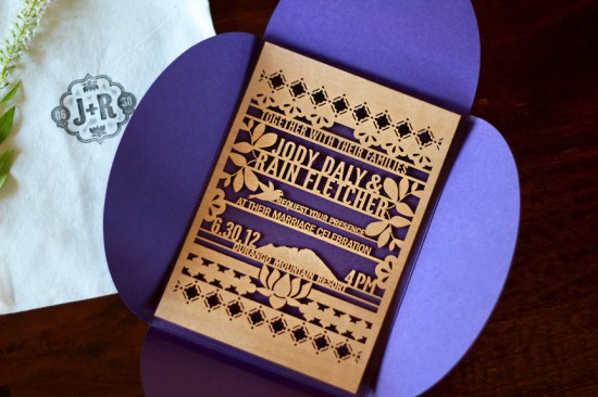 Lasercut Wood Wedding Invitations Kate Holgate12 550x366 Jody + Rains Eastern Inspired Lasercut Wood Wedding Invitations