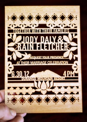 Lasercut Wood Wedding Invitations Kate Holgate2 300x422 Jody + Rains Eastern Inspired Lasercut Wood Wedding Invitations