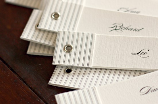 Black and White Stripe Place Cards Bespoke Press 550x363 Wedding Stationery Inspiration: Black + White Stripes