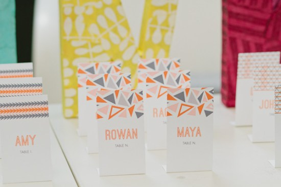 Bright Geometric Wedding Escort Cards Paper Bloom KIM and PHIL Photography 550x366 Wedding Stationery Inspiraton: Geometric