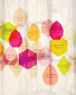 Calligraphed Geometric Lucite Place Cards Gail Brill Design Thomas Straub 300x375 Wedding Stationery Inspiraton: Geometric