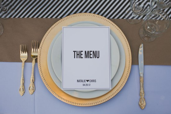 DIY Simplistic Black and White Menu Mint Love Social Club EP Love 550x365 Wedding Stationery Inspiration: Black + White Stripes