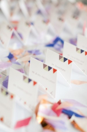 Geometric Triangle Place Cards Lara Kahn Katie Osgood Photography 300x451 Wedding Stationery Inspiraton: Geometric