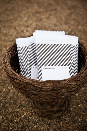Modern Black and White Stripe Ceremony Programs Passing Notes Catherine Hall Studios 300x450 Wedding Stationery Inspiration: Black + White Stripes