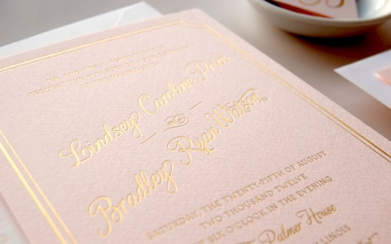 Pink Gold Foil Letterpress Wedding Invitations Daily Sip Studios6 550x343 Lindsey + Bradleys Elegant Pink and Gold Foil Wedding Invitations